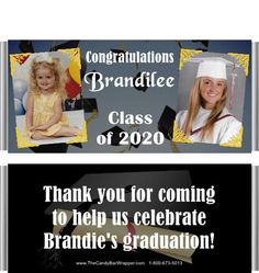These graduation candy wrappers feature two photos of the graduate, one then and one now. You can customize the colors of this design. Personalized Candy Bars, Graduation Party Favors, Hershey Bar, Candy Wrappers, High School Graduation, Class Of 2020, Elementary Schools, Congratulations, Colors