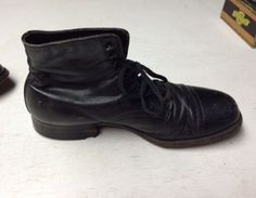 Vtg-Dr-Scholl-Leather-Black-Work-Boots-Ankle-Cap-Toe-women-039-s-8-5-9-Steampunk-40s