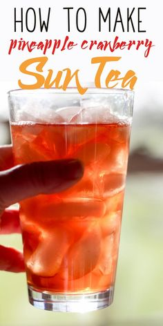 Do you remember how to make sun tea? But this isn't a recipe for plain ole' tea. We are making Pineapple Cranberry Sun Tea. via This Cook That Refreshing Drinks, Summer Drinks, Fun Drinks, Healthy Drinks, Beverages, Cold Drinks, Healthy Food, Party Drinks, Tea Party