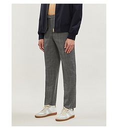 Reiss Lafite Checked Wool-blend Trousers In Grey Reiss, Legs Open, Trousers, Pants, Wool Blend, Mens Fashion, Grey, Shopping, Clothes