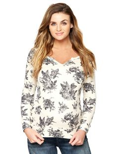 A Pea In The Pod Long Sleeve Maternity Pull Over, Black/White Floral