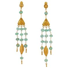 Etruscan Style Emerald Bead and Gold Chandelier Earring | From a unique collection of vintage chandelier earrings at https://www.1stdibs.com/jewelry/earrings/chandelier-earrings/