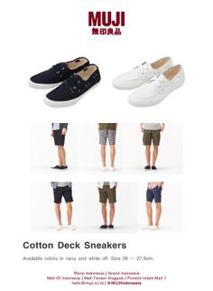Available now at stores. Cotton Deck Sneakers for men in navy and white colors.