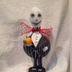 Handpainted Halloween Gourd-Jack Skellington