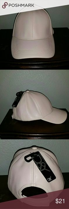 David & Young faux leather baseball hat NWT Cream color baseball hat with velcro back closure. New with tags. David & Young Accessories Hats