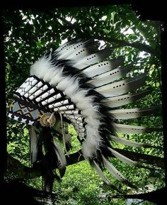 Black White Native American Headdress Indian by TheLandOfCockaigne