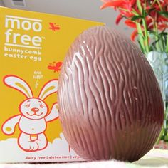 New MooFree Bunnycomb Easter Egg - Vegan and soy-free milk chocolate made in a dedicated dairy-free facility! The new egg has vegan toffee honeycomb bits in it!
