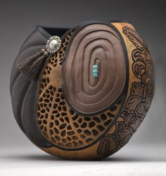 Not wood but a natural gourd - work of artist Heather Kinkade at Big Horn Galleries