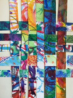Paper Weaving I wonder if you could do this with colored acetate strips for color mixing (I cut up file dividers because acetate can be pricey).  Also, strips of felt might be fun to work with, too!
