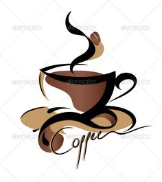 Coffee cup illustration: Coffee logo sign,vector illustration isolated on white background Coffee Logo, Coffee Cafe, Coffee Shop, Coffee Poster, I Love Coffee, Coffee Break, My Coffee, Vector Food, Vector Art