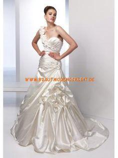 Einschulter schönes Brautkleid aus Stretchsatin Bodenlang A-Linie Herz-Ausschnitt