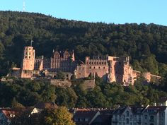 Heidelberg Castle view from the Neckar River, old bridge