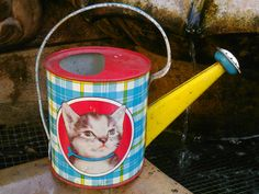 Oh so cute vintage child's tin watering can... by SoTickeledPink, $65.00