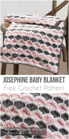Sewing Blankets Josephine Baby Blanket Free Crochet Pattern - A free crochet pattern using worsted-weight yarn. Shell stitches in pink and gray bring modern appeal to this sweet baby blanket. Perfect baby blanket for any occasion. Crochet Baby Blanket Free Pattern, Crochet Baby Blanket Beginner, Easy Crochet, Free Crochet, Knit Crochet, Crochet Blankets, Baby Blankets, Crochet Afghans, Crochet Shell Blanket