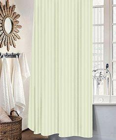 Ivory Stripe Mist Shower Curtain Set
