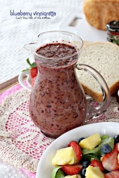 Blueberry Vinaigrette ~ this thick, creamy, and healthy salad dressing is made with fresh blueberries and blueberry vinegar...wonderful over tossed salad with fruit   cantstayoutofthekitchen.com