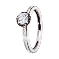 Beautiful engagement ring Romance in 18-carat white gold with white sapphire and diamonds