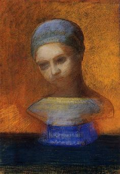 Odilon Redon - Small Bust of a Young Girl, 1884. Pastel