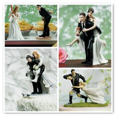 Wedding cake toppers were dominant in the United States in the 1950's symbolising the togetherness of a newly married couple. My how times have changed! As a decorative item, wedding cake toppers last longer than some marriages. Often made from marzipan, the new order of unusual wedding cake toppers can be made from wood, tin, plastic, felt, fabric, and even LEGO. #weddings #caketoppers