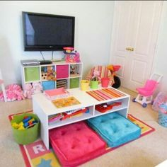 Children's playroom ideas - love the bright colors. No tv though. Playroom is for PLAYING. Playroom Organization, Playroom Decor, Kids Decor, Playroom Ideas, Home Decor, Playroom Table, Children Playroom, Playroom Layout, Kids Rooms