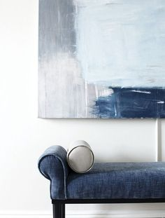 Accessories and upholstery take their cue from the hues in the living room's large abstract painting. - shades of blue Decoration Inspiration, Color Inspiration, Interior Inspiration, Azul Niagara, New England Homes, Moody Blues, The Design Files, House And Home Magazine, Home Deco