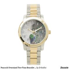 Peacock Unisex Oversized Bracelet Watch. Color: black, gold, silver or two-ton