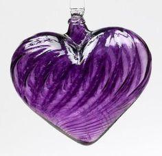 Purple Heart Glass Ornament