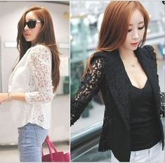 Fashion Women Sheer Lace Floral Patchwork Slim Fit Top Blazer Blouse Jacket M L Blazers For Women, Suits For Women, Chemises Sexy, Lace Blazer, Black And White Shirt, Black White, Mode Mantel, Sexy Shirts, Lace Sleeves