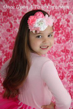 Hello Kitty Inspired Satin Shabby Flower Headband - Little Girl Rhinestone  Kitty OTT Hairbow - Newborn fdf059bb95f