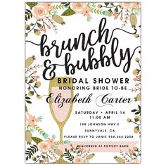 Brunch+And+Bubbly+Bridal+Shower+Invitations