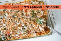 Pizza Quinoa Casserole {Veggie Supreme}  Made this 9/13/13.  YUM!  Easily could be vegan or even made with some sausage or chicken.  Many options.