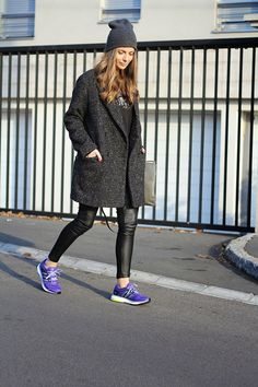 adidas running sneakers boyfriend coat fashion and style