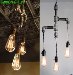 Trio tiered upcycled pipe chandelier by Hammers & Heels