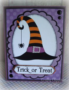 Halloween Card, Witch Hat, Witch Card, spider, Trick or Treat, Purple and Black…