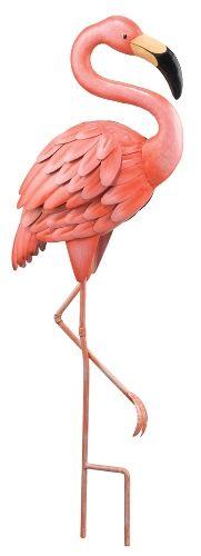 Tropical Pink Flamingo 3-D Standing Metal Art Garden Decor Figurine
