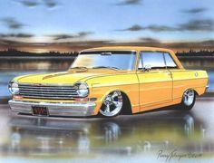 1963 64 Chevy Nova 2 Door Hardtop Classic Car Art Print 11x14 – Parry Johnson Art