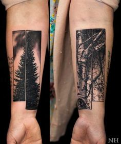 The Tree of Life. This pair of tree tattoo offer the bitter reality of life. The first stage of life is filled with leaves and fruits and the older stage offer the bare branches with no fruit and leaves.