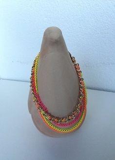 Kaufe meinen Artikel bei #Kleiderkreisel http://www.kleiderkreisel.de/accessoires/ketten-and-anhanger/137083525-statement-kette-neon-pink-gelborange-mehrreihig