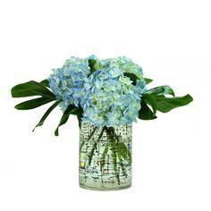 Museum Collection, Summer Collection, Benaki Museum, Hydrangea Arrangements, Seasonal Flowers, Cut Flowers, Red Roses, Greenery, Glass Vase