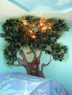 Tree wall mural for my daughter's room inspired by Pixie Hollow.