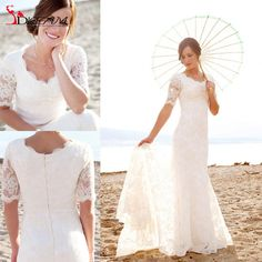 2016 Modest Short Sleeves Wedding Dresses with Pearls For Beach Garden Elegant Brides Lace Mermaid  New Bridal Gowns Vestidos