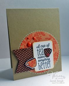 Hand stamped tea themed card by Sarah Gough using the One Cup set from Verve. #vervestamps