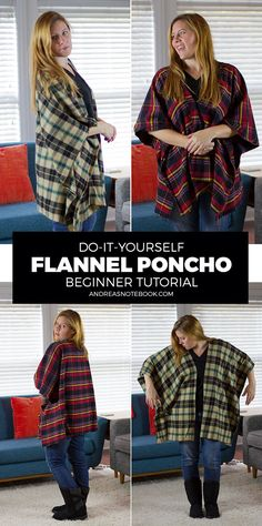DIY Flannel Poncho Tutorial #Payless #Solestyle #ad