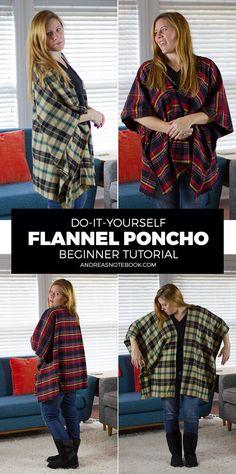 DIY Flannel Poncho Tutorial---belt it Easy Sewing Projects, Sewing Hacks, Sewing Tutorials, Sewing Crafts, Sewing Tips, Sewing Ideas, Diy Poncho, Fleece Poncho, Poncho Scarf