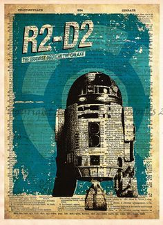 R2D2 Droid in classic Retro styled Star Wars print . Awesome vintage look! These unique and original artwork are printed on authentic vintage early 1900's dictionary paper from books i have rescued fr
