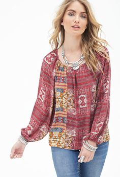 FOREVER 21 Southwestern Print Peasant Top
