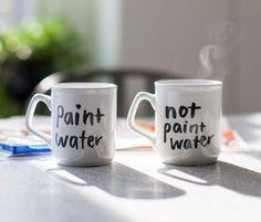 Now there shall be no more confusion between what is paint water and what is tea! #painting #art #mugs