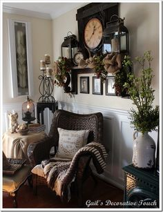 Beautiful #faux #mantle display that could be replicated  with oversize lanterns,  large wall clock, burlap and greenery.