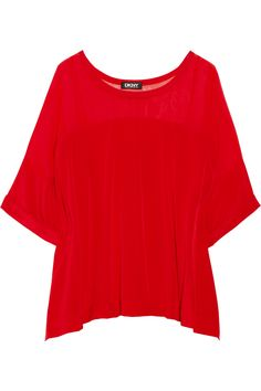 Seeing red ... DKNY Stretch Silk and Chiffon Top