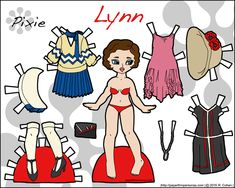 Länk till Lynn, en tryckbar historisk pappersdocka med klänningar från 1920-talet i färg